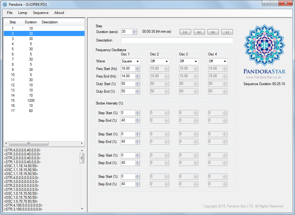 pandorastar light therapy Sequence Editor